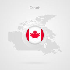 Canada map dotted contour vector sign. Isolated Canadian circle flag symbol with maple leaf. Illustration icon for presentation, project, business infographic, sport event, travel, concept, web design