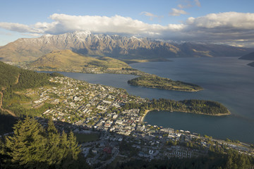 View of Queenstown and Lake Wakatipu, New Zealand