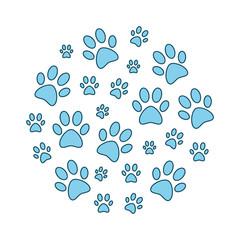 Blue animal paw prints round funny vector illustration