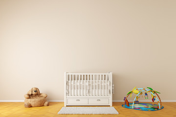 Nursery room with crib and toys