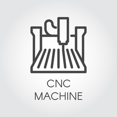 CNC machine line icon. Computer numerical controlled device, outline sign. Construction equipment for factory, plant. Graphic contour pictogram. Vector illustration of laser cutting series