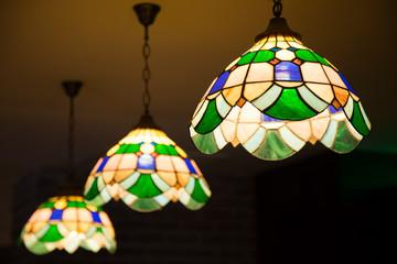 Multi color glass lamp . Interesting interior