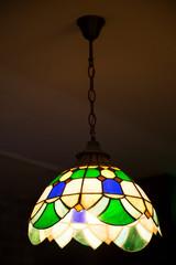 Multi color glass lamp