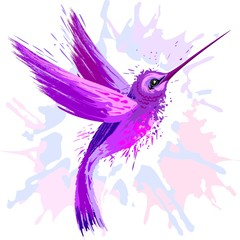 Photo on textile frame Draw Hummingbird Spirit Purple Watercolor