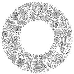 Vector set of Honey cartoon doodle objects