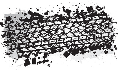 Vector trail design, trace of the tyre in grunge style