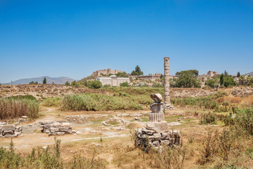 Ruins of Temple of Artemis at Ephesus. Selcuk in Izmir Province, Turkey