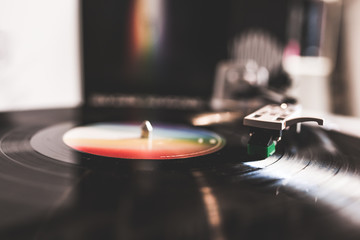 Playing Vinyl Record Template Concept, Close Up / Record player with vinyl record