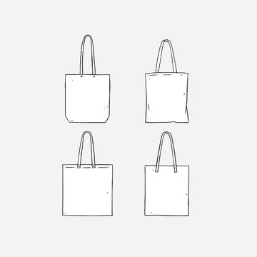 Hand drawn vector illustration of blank white tote bag on white background. Template fabric bag.canvas shopping bags.mock up.