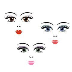 Doll, girl, woman cute face template vector