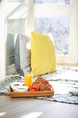 Healthy morning breakfast on tray. Sunny morning