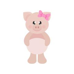 cartoon cute pig girl with bow
