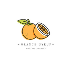 Packaging design template logo and emblem - syrup and topping - orange. Logo in trendy linear style.