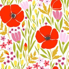 Modèle sans couture avec des fleurs de pavot rouges
