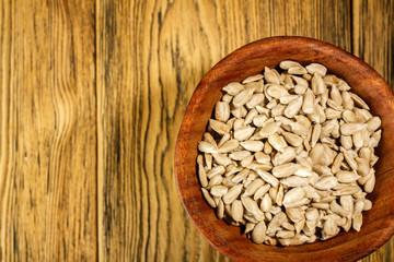 Sunflower seeds peeled. Rustic style. Ready for use.