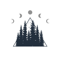 Hand drawn travel badge with fir trees textured vector illustration.