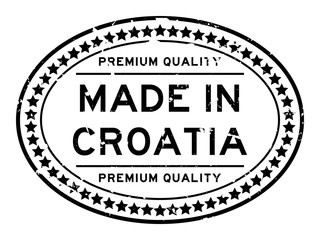 Grunge black premium quality made in Croatia oval rubber seal stamp on white background