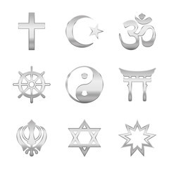 Religion symbols. Silver signs of major world religious groups and religions. Christianity, Islam, Hinduism, Buddhism, Taoism, Shinto, Sikhism and Judaism - isolated vector illustration.