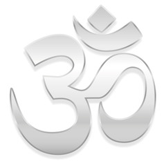 Om or Aum symbol. Spiritual healing silver symbol of buddhism and hinduism - isolated vector illustration on white background.