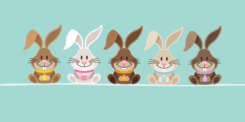 5 Cute Rabbits Retro Banner