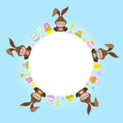 Easter Bunnies Round Frame Blue