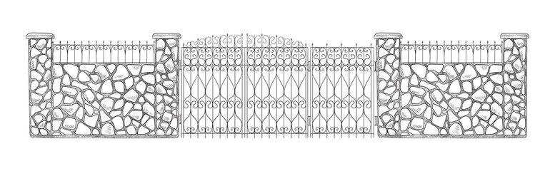 Decorative stone and metal fences. Vector illustration