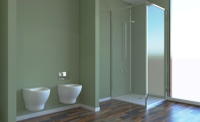 Bathroom interior bathtub. 3D rendering.