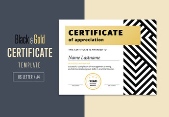 Elegant Black and Gold Abstract Award Certificate Layout
