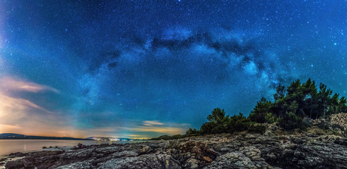 Beautiful landscape of Croatia, Croatia coast, sea and mountains. Milky Way panorama