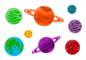 Set of cartoon planets. Vector illustration