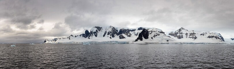 Antarctic landscape view from sea panoramic