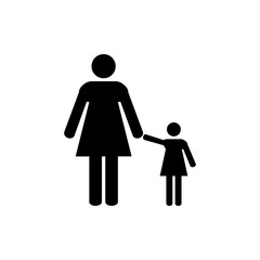 Woman, girl icon, toilet sign, restroom sign. Black on white background.  Flat design. Vector illustration.