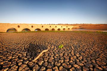 Dry land and a roman bridge on sunset