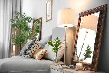 Elegant room interior with mirror on nightstand Fototapete