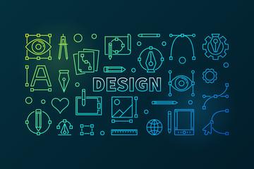 Design outline bright illustration. Vector banner