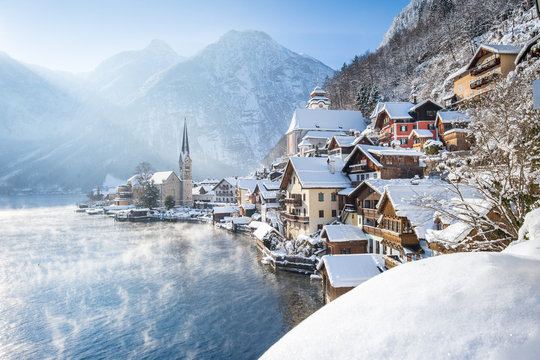 Classic view of Hallstatt in winter, Salzkammergut, Austria