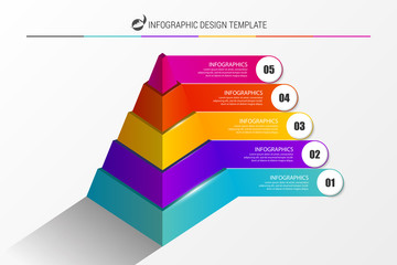 Infographic design template. Pyramid with 5 steps. Vector