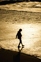 Silhouette of mixed race boy walking on beach at sunset