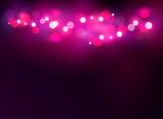 Abstract glowing light on a pink background bokeh vector illustration. St. Valentine's Day