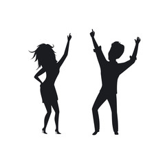 silhouette of man woman, couple disco dancing , clubbing isolated vector illustration
