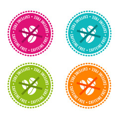 Wall Mural - Set of Allergen free Badges. Caffeine free. Vector hand drawn Signs. Can be used for packaging Design.