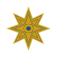 Vector illustration: The Star of Ishtar, Symbol of Inanna, also called Star of Venus. Eight pointed star or variant of Istar Octagram.