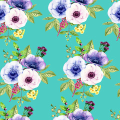 watercolor seamless pattern on the turquoise background