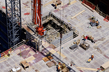 Aerial view of workers working at construction site