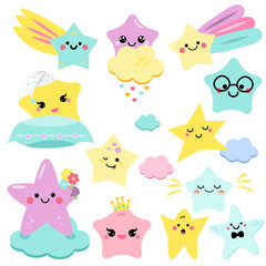 Cute stars vector illustration for kids. isolated design children. baby shower stars, design elements in kawaii style