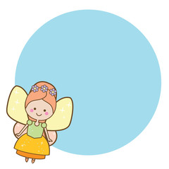 Beautiful little flying fairy character. Blue round frame design template for photos, children diplomas, kids certificate, invitations and etc