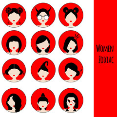 Women Astrological Zodiac Signs. Vector Set. Icons in red and black colors