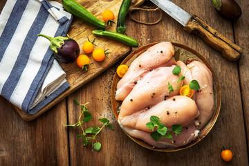 Raw chicken breast on wooden background