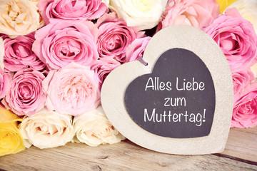 Muttertag - Blumenstrauß mit Herz - Rosen Pastell