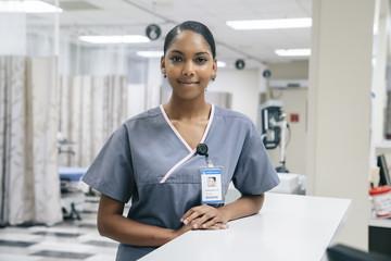 Portrait of smiling African American nurse in hospital